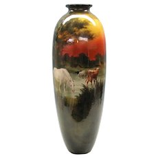 "Monumental early Doulton vase with Horse and cows 20"" tall"