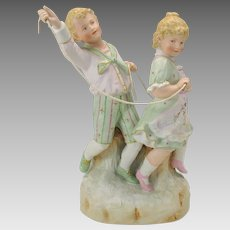 "Large antique Heubach German bisque boy & girl figure ""Horsey"""