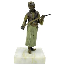 Big antique Bergman Austrian cold painted bronze Arab sword maker figure