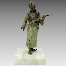 Big antique Bergman Austrian cold painted bronze Arab sword maker figure