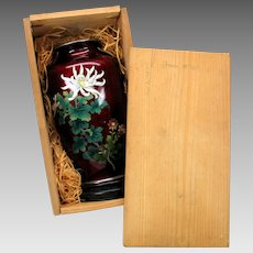 Vintage Sato Japanese Cloisonne silver wire vase in original wooden crate #1