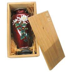 Vintage Sato Japanese Cloisonne silver wire vase in original wooden crate #2