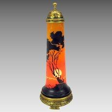 Art Deco glass and gilded bronze perfume lamp scenic