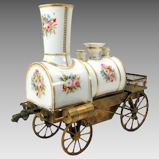 Antique Paris porcelain & bronze figural Locomotive liquor bottle dispenser