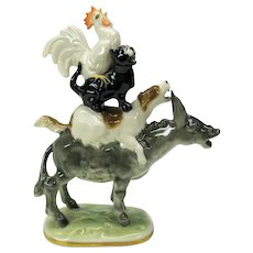Big vintage Hutschenreuther porcelain figure Musicians of Bremen #1 4 animals