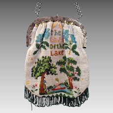 "Dated 1834 ""The Lady of the Lake"" scenic micro beaded purse"