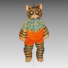 Vintage chromolitho paper toy Dressed cat jumping jack googly eyes