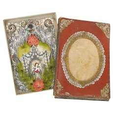 Victorian boxed Dresden paper 3 D card of Fairy in grotto