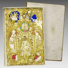 Antique gilded Dresden paper card in the original box HOPE with Fairy Cherubs
