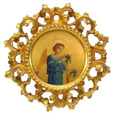 Antique Italian original Grand Tour oil painting of Angel in gilded frame