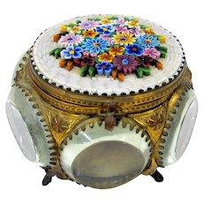 Grand Tour Micro mosaic & beveled glass dresser box