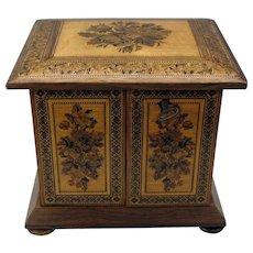 Antique Tunbridge ware jewelry box casket with key mosaic wood inlay
