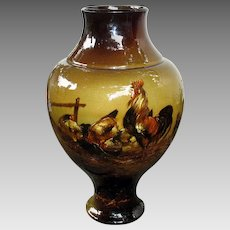 Huge antique slip decorated vase with Rooster and chickens 20""