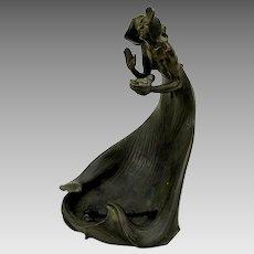 Art Nouveau figural bronze table cigar lamp signed Arthur Rubenstein