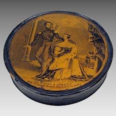 1840's paper mache snuff box Queen Victoria, Albert and Princess Royal