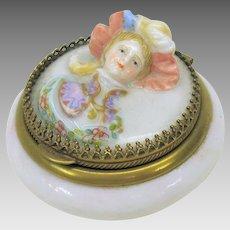 Victorian fine porcelain patch box with 3D Ladies head