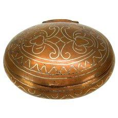 Early silver inlaid copper pocket snuff box