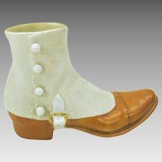 Antique Royal Bayreuth porcelain Gentleman's shoe with spat
