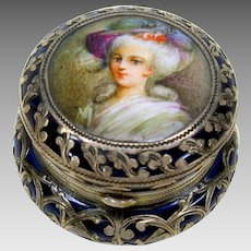 Antique sterling silver overlay porcelain portrait patch box