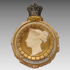 Antique Royal Worcester porcelain Queen Victoria perfume bottle