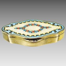 Antique silver and enamel ladies pill or patch box
