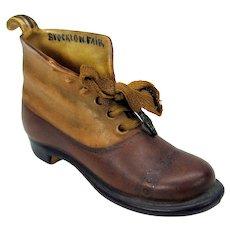 Antique Royal Bayreuth porcelain working man's boot shoe figure