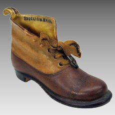 Antique Royal Bayreuth porcelain working man's boot shoe figure
