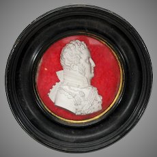 18th or early 19th Century sulphide glass Military portrait