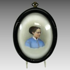 Victorian hand painted porcelain portrait plaque of a Lady