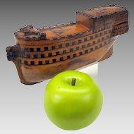 Huge early figural wood master snuff Henry VIII Boat