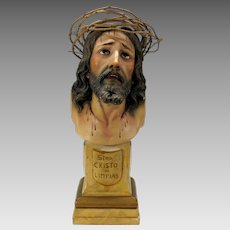 Vintage Spanish polychrome painted wood bust of Jesus glass eyes