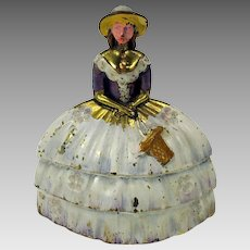 Antique polychrome painted brass figural Lady table bell
