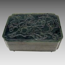 Antique carved Chinese spinach Jade dresser box