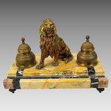 Antique gilded bronze & marble inkwell desk set with Lion