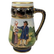 Vintage Rorstrand porcelain scenic stein or beer mug