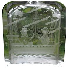 Klover Dostal Swedish art glass decanter with tall ship 1967