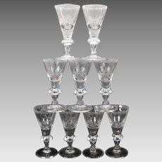 Set 9 early folded foot engraved Port or sherry stems glasses