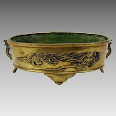 Vintage Chinese bronze table top planter or footed bowl