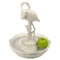 Huge 1920's Rosenthal porcelain Flamingo centerpiece flower frog & bowl