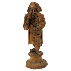 """Antique full figure carved wood nutcracker 7 3/8"""" tall Man smoking pipe"""