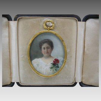 Finest quality antique hand painted portrait miniature-Lady with red flower