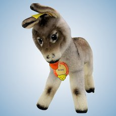 Mint 50's vintage Steiff Grissy the Donkey all tags ID 7 1/2""