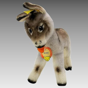 """Mint 50's vintage Steiff Grissy the Donkey all tags ID 7 1/2"""""""