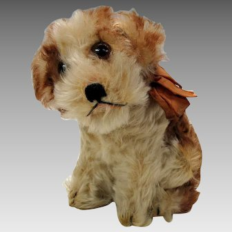 Large size vintage seated Steiff Molly dog with button & ear tag