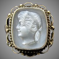 "Antique carved moonstone cameo sterling silver ring size 6 1/4""-6 1/2"""