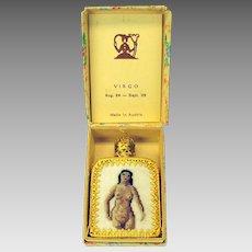 Vintage Austrian ormolu and petite point perfume bottle Virgo nude in original box