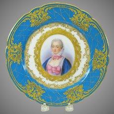 19th French hand painted portrait plate Madame du Pompadour
