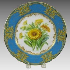 19th Century French hand painted Botanical cabinet plate