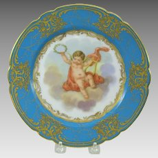 19th Century French hand painted Cherub cabinet plate