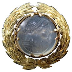 Antique 14k gold & carved moonstone cameo set in wreath brooch pin